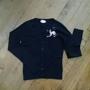 Lux Black Cardigan with Embroidered Stag